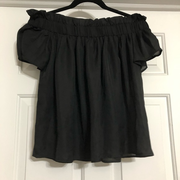 Lucca Couture Tops - Lucca off shoulder sheer top small black